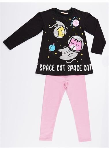 Denokids Uzaylı Kedi Kız Tunik Takım Renkli
